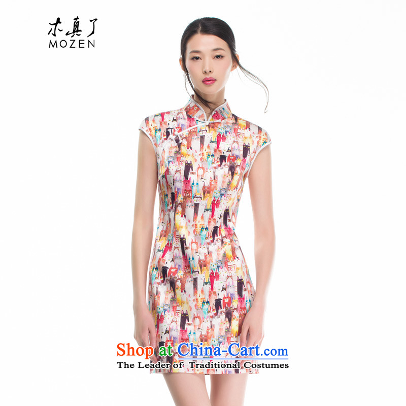 Wood, an improved cheongsam dress really fall 2015 installed new women's stylish stretch of Sau San Silk Dresses 53361 00 jacquard yarn- XL