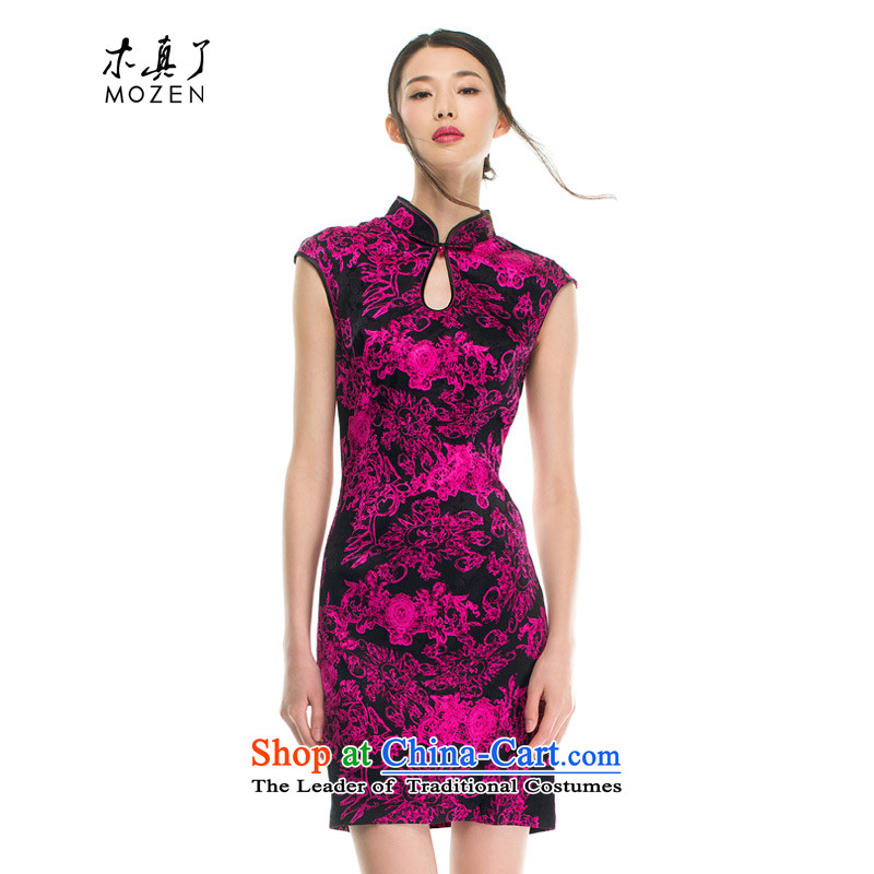 The 2015 autumn wood really new women's silk cheongsam dress聽42719 stamp 18 PINK聽XL