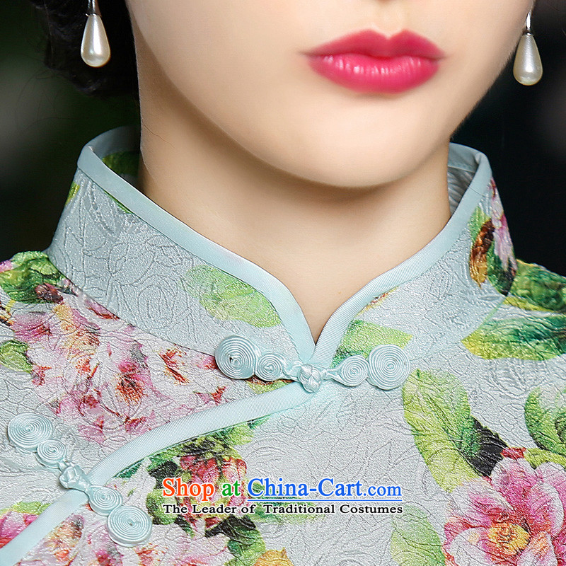 In the autumn of聽2015, the cross-sa Ling new cheongsam dress summer Stylish retro improved cheongsam look short-sleeved cheongsam dress聽the cross-SA has been pressed XL, online shopping
