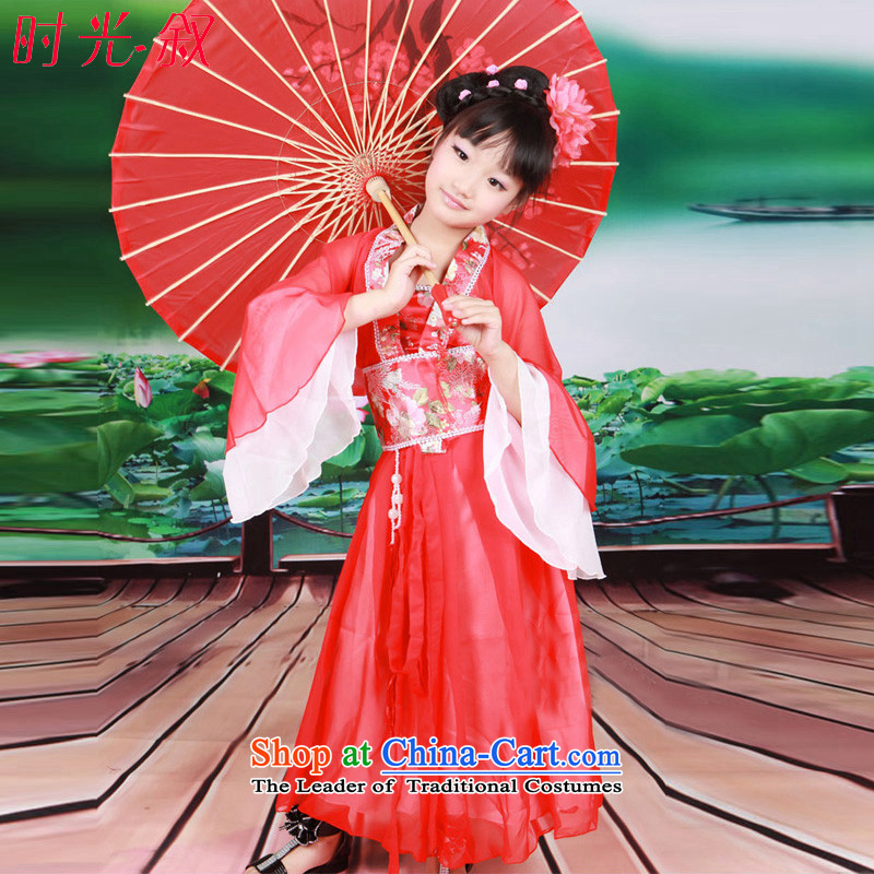 Time Syrian children classic prey Li Tang dynasty girls costume show teenage clothing load fairies children ancient guzheng Han-floor photo album clothing red聽130CM