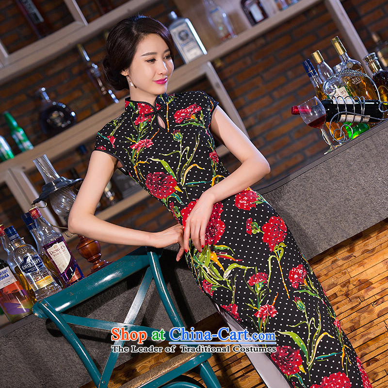 Take the new figure retro long qipao Chinese water droplets Mock-neck Sau San stamp improved version of long cheongsam dress suit Figure Color XL