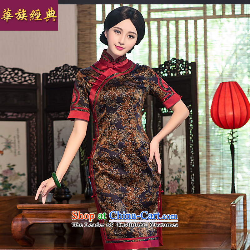 China Ethnic classic silk yarn improved qipao cloud of incense dresses retro 2015 new summer short of Ms. Sau San suit燣