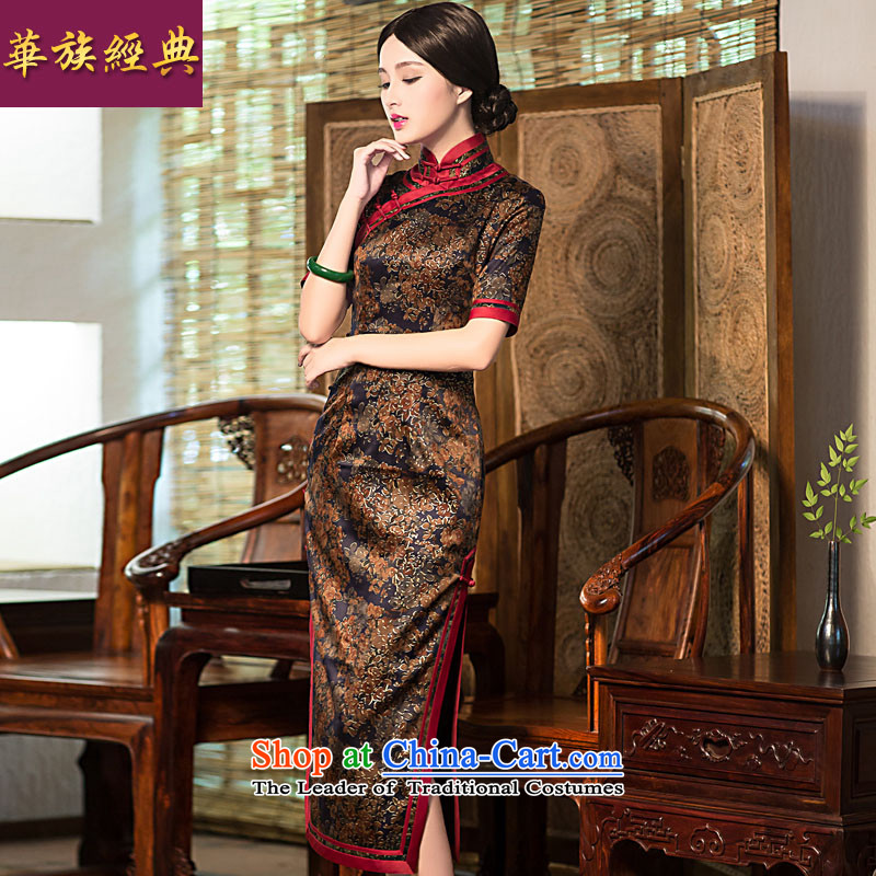 China Ethnic classic 2015 Summer noble silk yarn long cloud of incense, cheongsam dress suit聽XXXL Stylish retro improvement