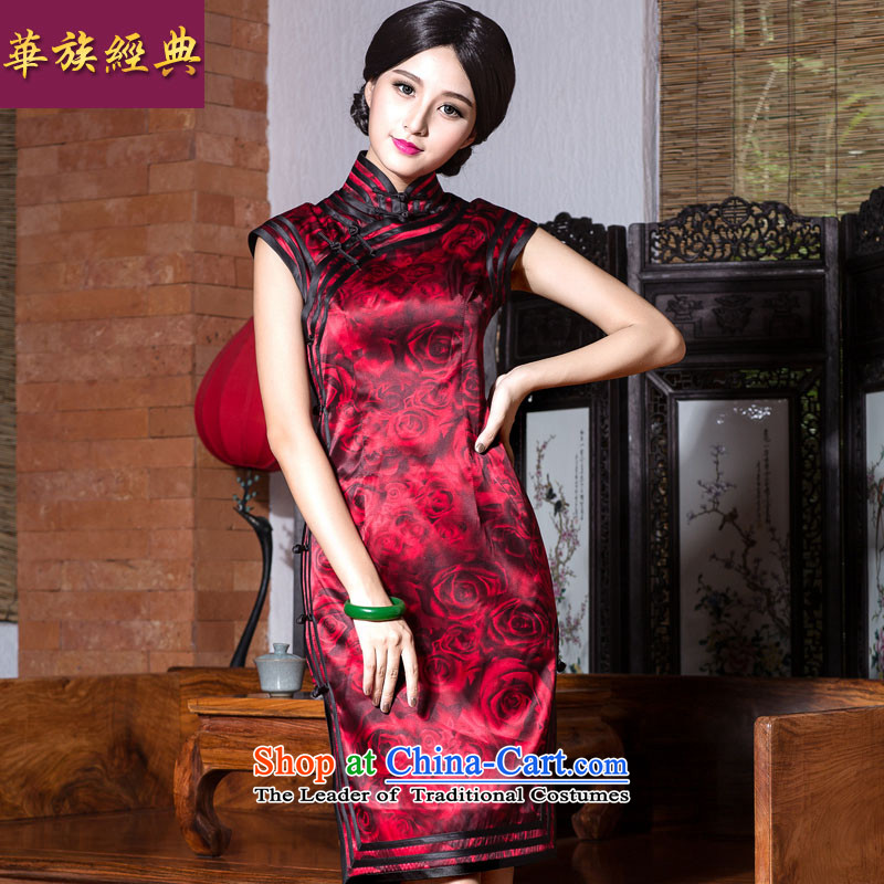 Chinese Classic New daily-silk cheongsam dress 2015 Ms. summer retro style suit S improved Sau San