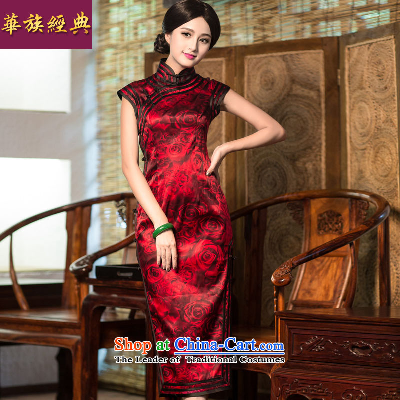 Chinese New Year 2015 classic ethnic herbs extract Silk Cheongsam summer long skirt retro style improvement suit?L _