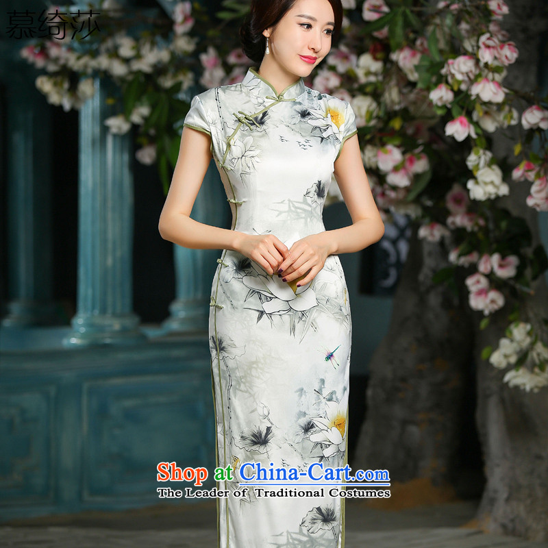The Easy-to-Chien Chi-sa 2015 new cheongsam dress retro in style qipao long cheongsam dress cheongsam dress temperament, White M