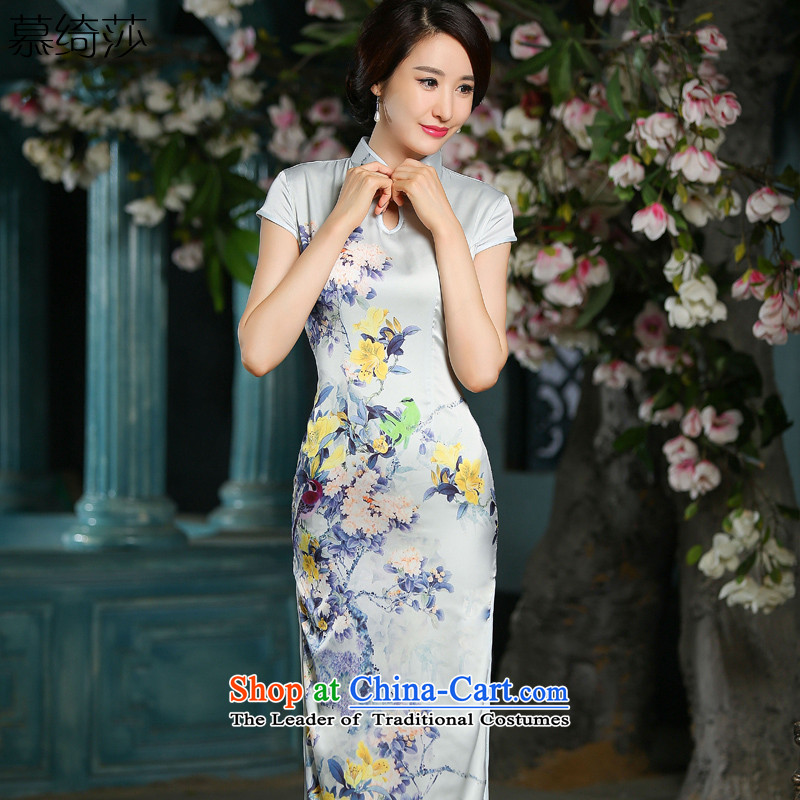 The cross-sa聽2015 Miss New cheongsam dress temperament, long, Sepia qipao gown improved Qipao Length cheongsam color picture Ms.聽2XL