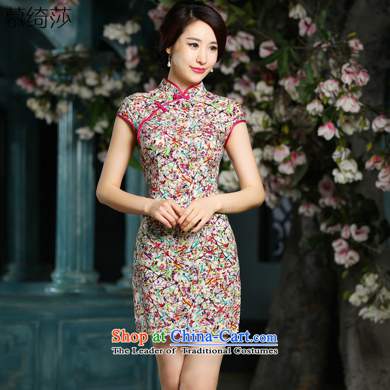 The cross-sa and the�15 New cheongsam dress summer retro temperament cheongsam dress daily improved qipao燴A 706 M