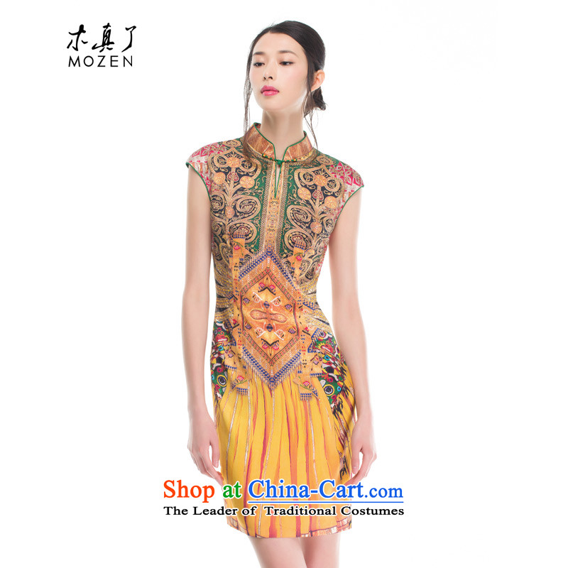 Wood, an improved cheongsam dress really fall 2015 installed new women's stylish stretch of Sau San Silk Dresses 53340 13 Yellow聽M