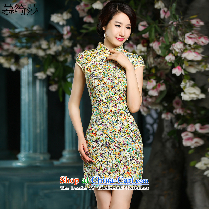 The cross-sa?2015 summer with stylish retro temperament, Ms. cheongsam dress qipao improved daily cheongsam dress?ZA 709?light yellow?S