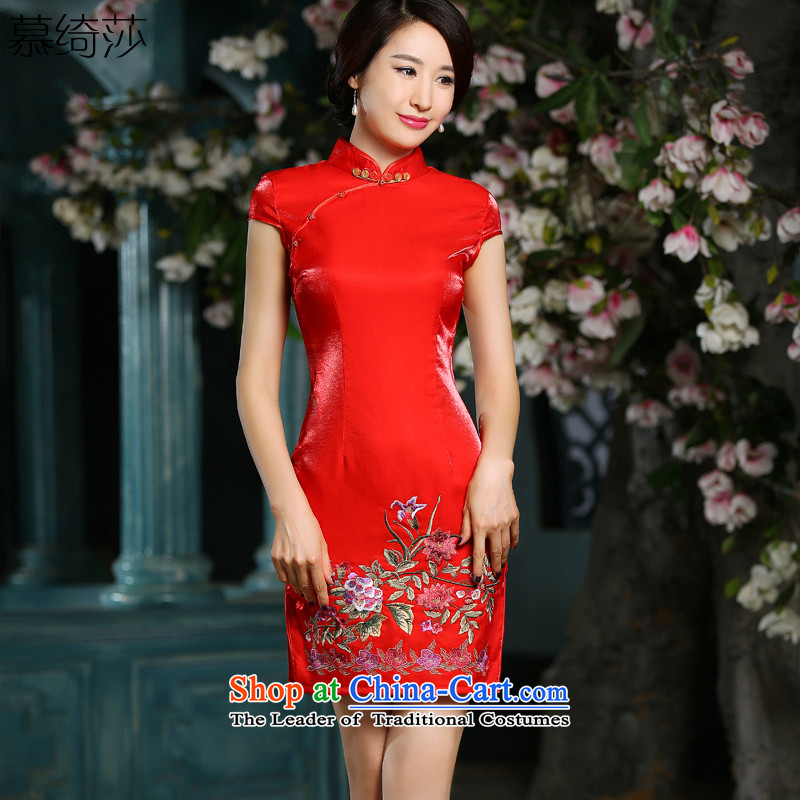 The cheer her only 2015 new cheongsam dress improved qipao gown Chinese Dress bride wedding bows services embroidery cheongsam dress red XL