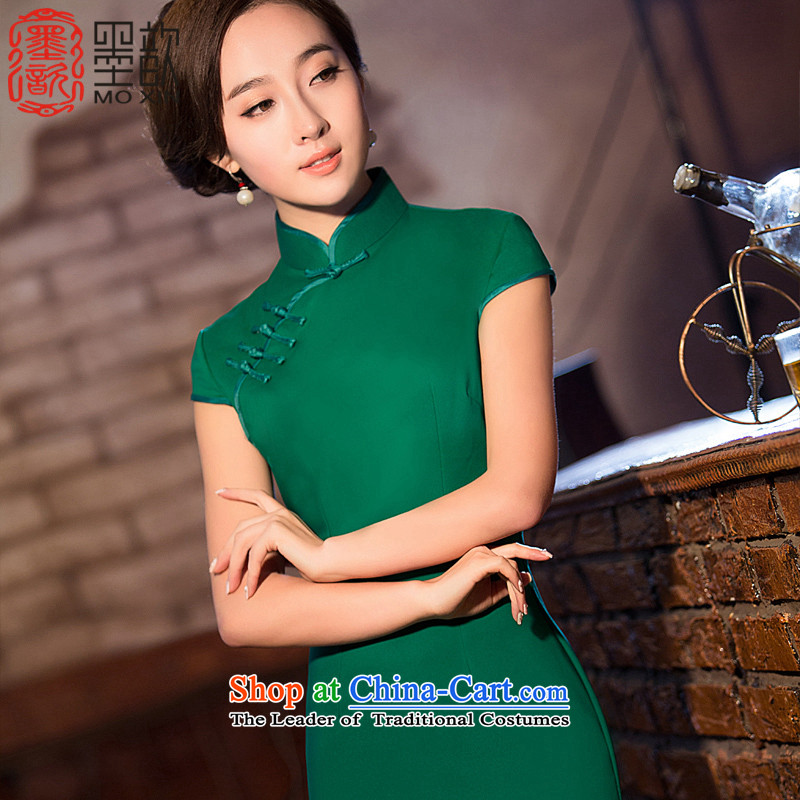 Ink ? Hong Kong New Xuan pure color cheongsam dress daily qipao improved dresses girls Sau San cheongsam dress short QD 201 XL