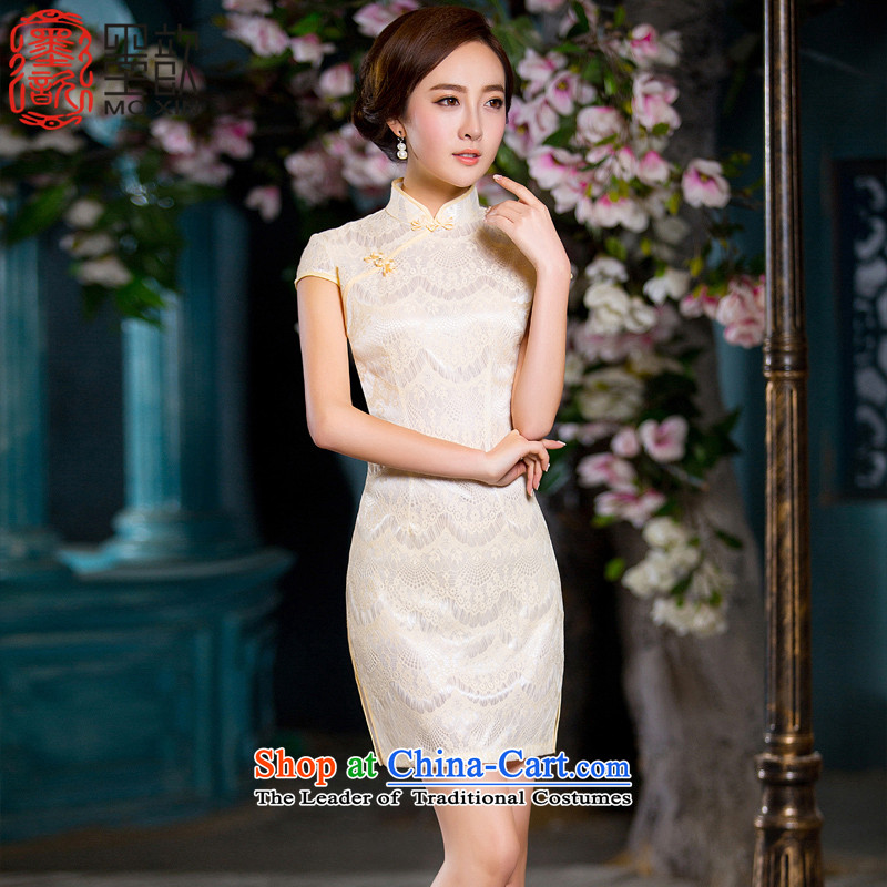 The Cold Rain�15 ? lace cheongsam dress summer new retro Sau San video thin cheongsam dress short cheongsam dress燪D 213 M