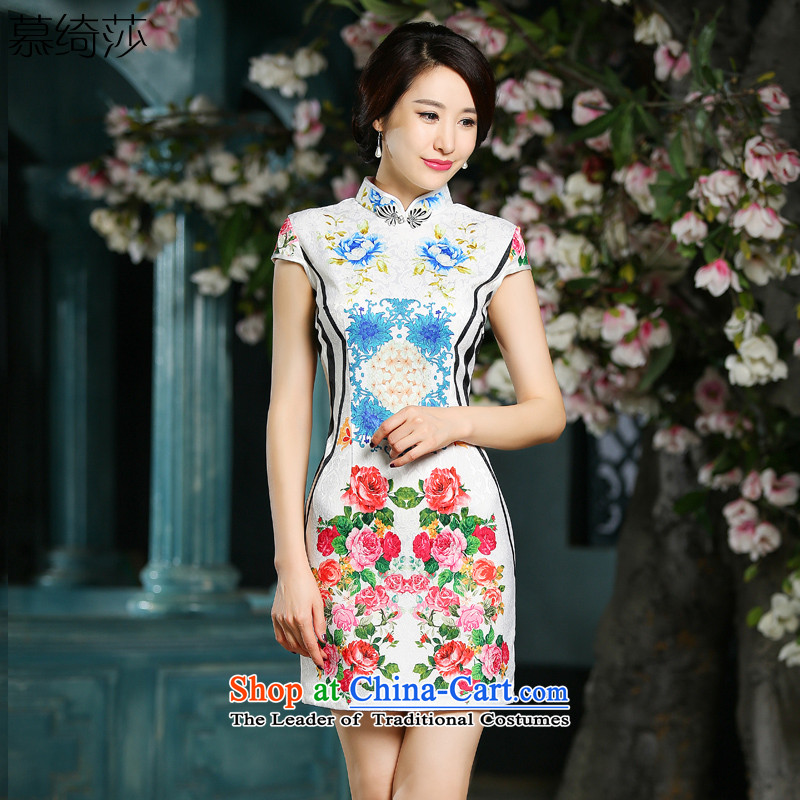 The cross-SA-default 2015 new cheongsam dress Palace Ms. wind retro cheongsam dress try temperament improved qipao White XL