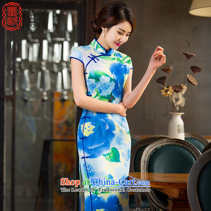 The Drunken Blue?2015 Summer � long qipao cheongsam dress daily improved Sau San new cheongsam dress long?QD237 2XL