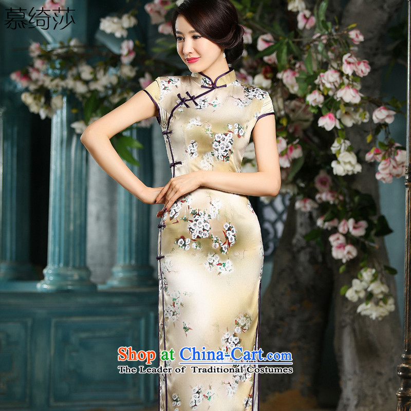 The cross-Sha Ting her improved qipao summer high on the forklift truck in long skirt retro look long qipao qipao gown, Ms. cheongsam dress photo color聽M