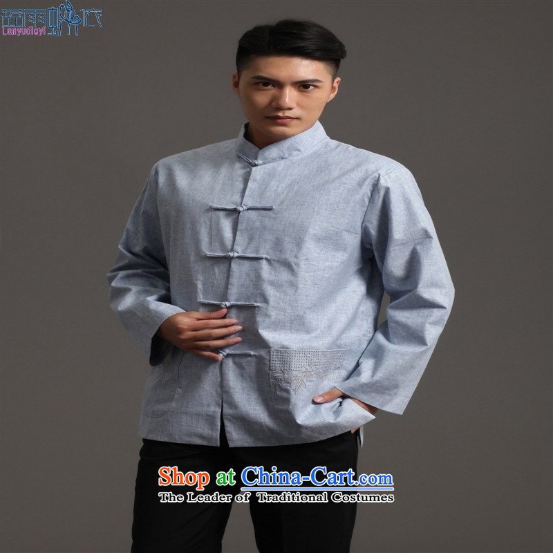 Tang Dynasty 2512-2 men) Chinese tunic, new collar ethnic Han-Tang dynasty XXL, light gray blue rain butterfly according to , , , shopping on the Internet