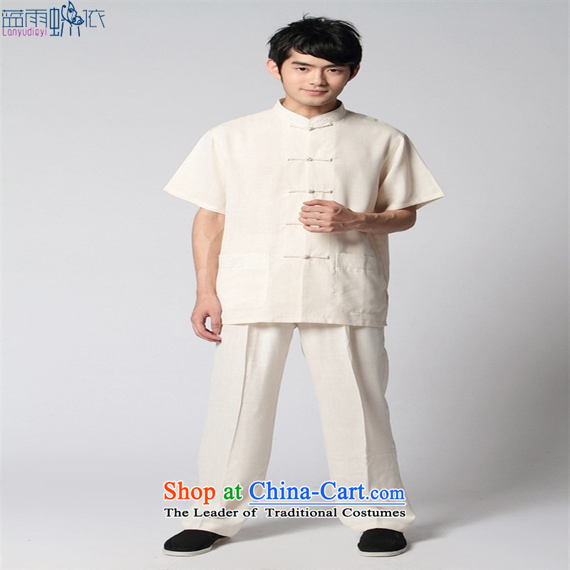 Tang Dynasty short-sleeved?2350-1 men costumes beige?L