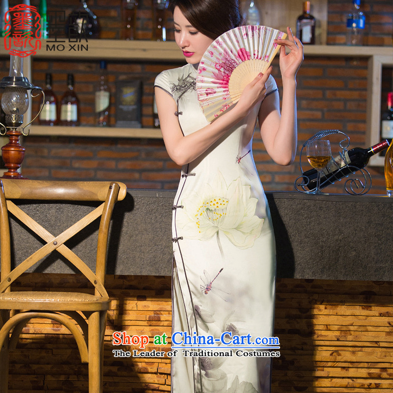 The Easy-to-smoke new ? cheongsam dress spring and summer long, Ms. Short-sleeved qipao skirt Fashion improved day-to-day long QD 240 M