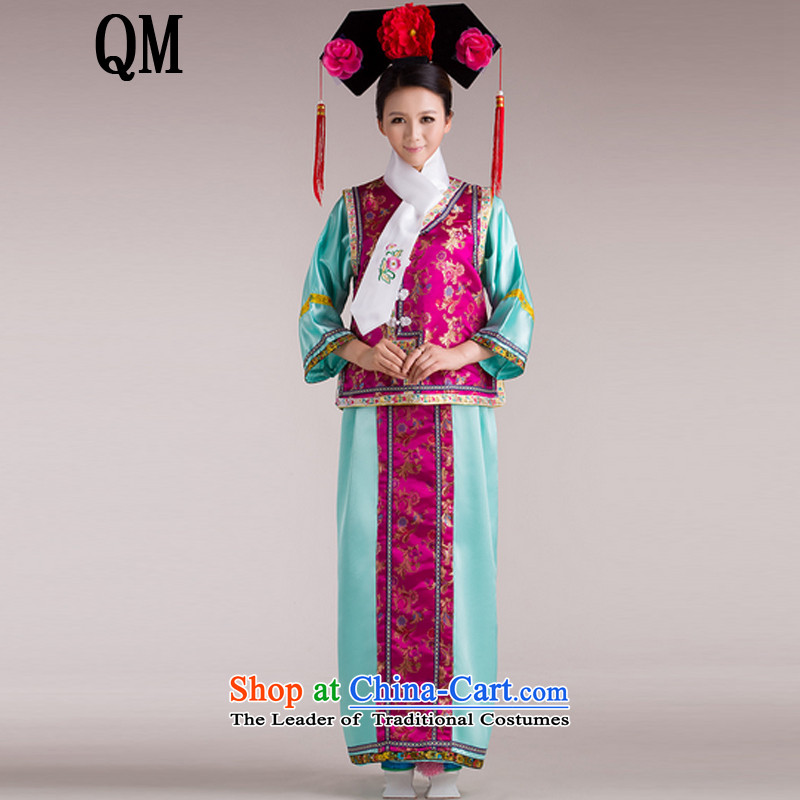 At the end of Light Classical Han-Princess Huan Zhu Qing Hong Kong-Those Han-ancient palace lock bead curtain flag services for women of the Manchurian Palace clothing?CX4?_, both adult Green code