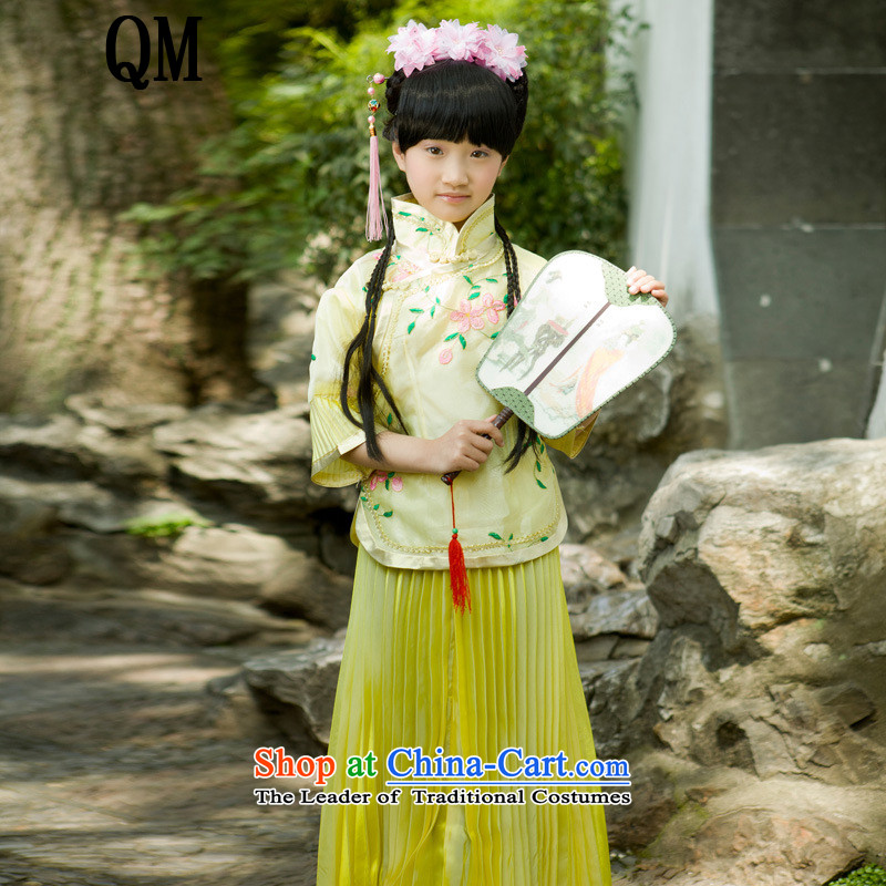 At the end of Light Classical Han-Republic of Korea-student girls girls princess fairies photo album guzheng guqin will?CX6?yellow adult chest 100cm