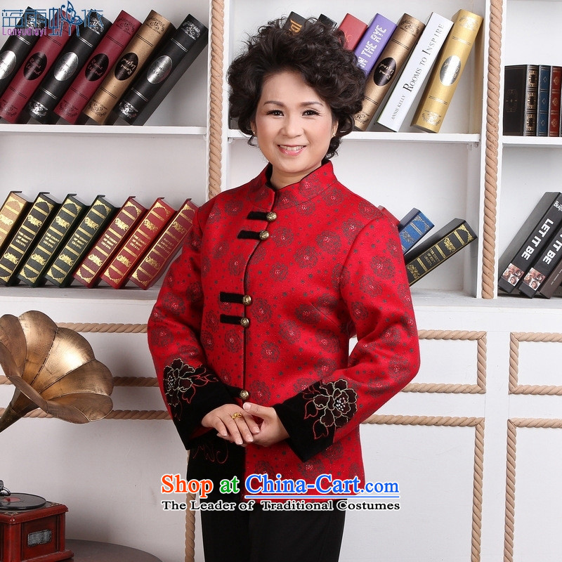 Tang dynasty women's robe female Chinese national women's clothes costumes 2359-2 Workwear casual clothing red�L