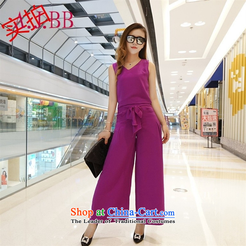Only the European Apparel site vpro V-Neck stylish sleeveless top load the bow tie width-legged pants chiffon mauve women and two piece black�S