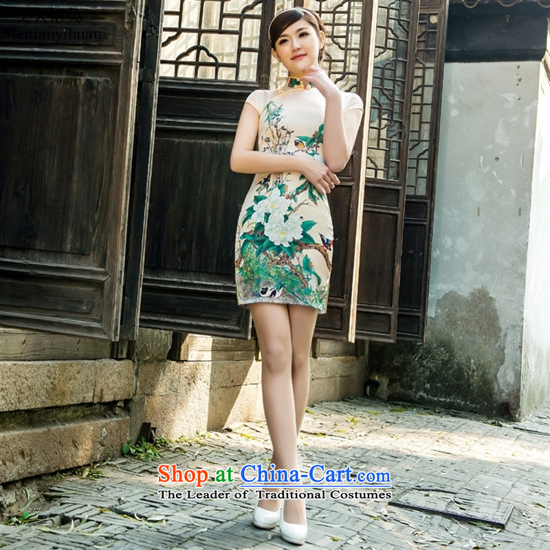 2015 Spring/Summer collar traditional bamboo elasticity magpies qipao daily satin cheongsam dress suit?S