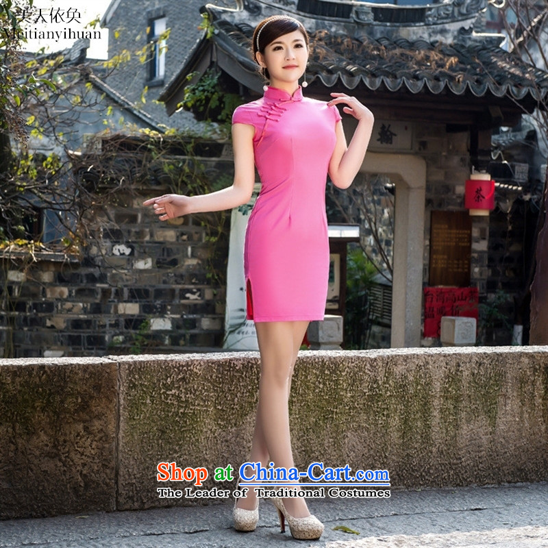 2015 Spring_Summer New Solid Color Elastic satin sexy low power's elegant qipao cheongsam dress up manually detained by red燣