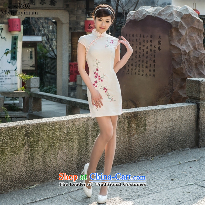 2015 Spring New Elastic satin embroidered Phillips-head courtly tradition of low-qipao cheongsam dress White�XL's