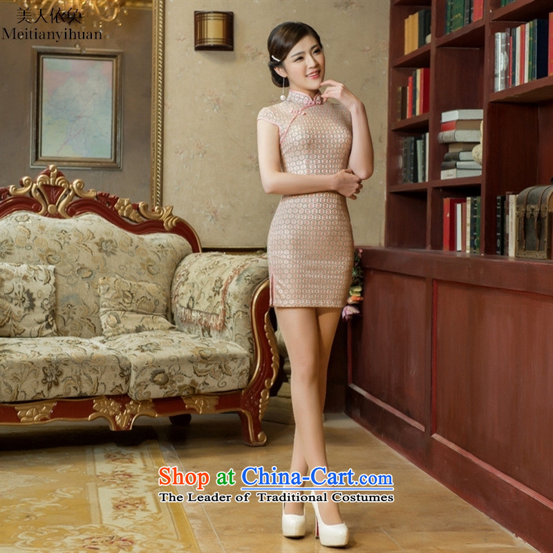 2015 Spring New Composite lace short of Qipao retro Sau San Mock-neck cheongsam dress White燲XL
