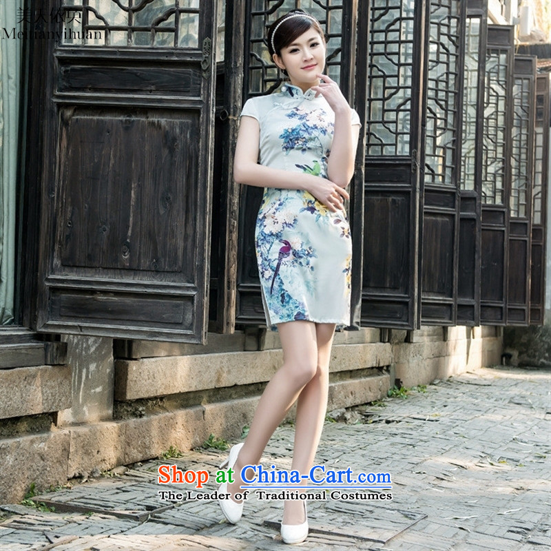2015 Spring Collar on's traditional cheongsam look very happy Elastic satin dress suit燲XL Cheongsam