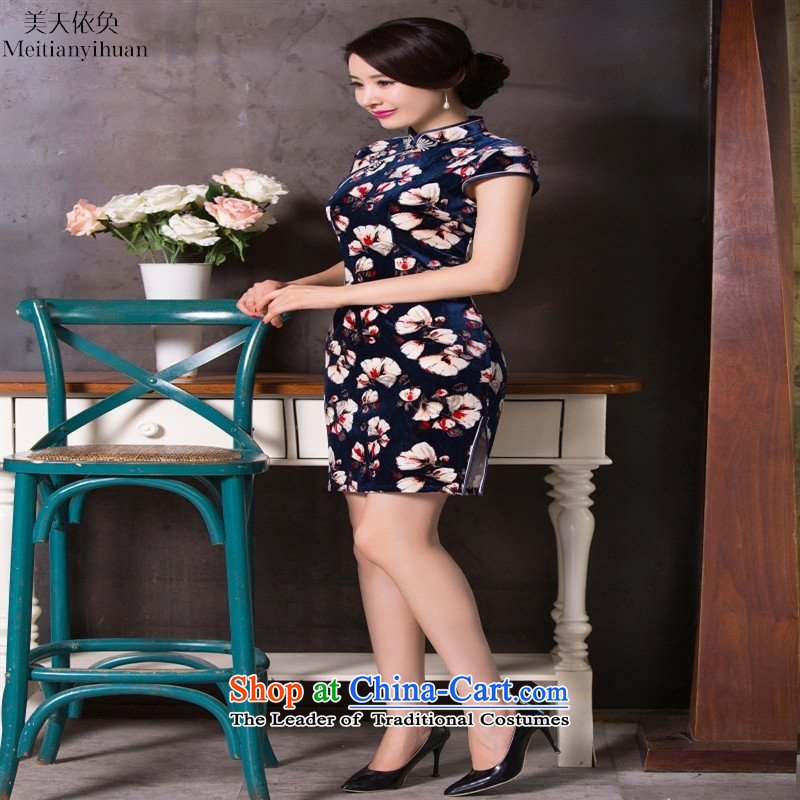 The new style qipao daily velvet dresses in long mother boxed suit燲L