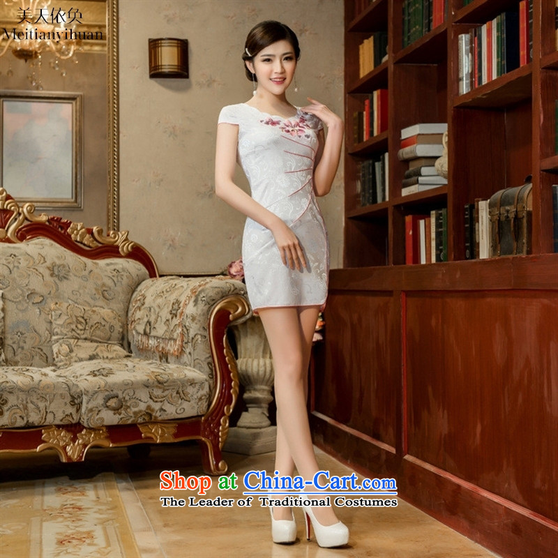 2015 Spring new waves for the Peach embroidery cheongsam China wind collar cotton jacquard cheongsam dress White M