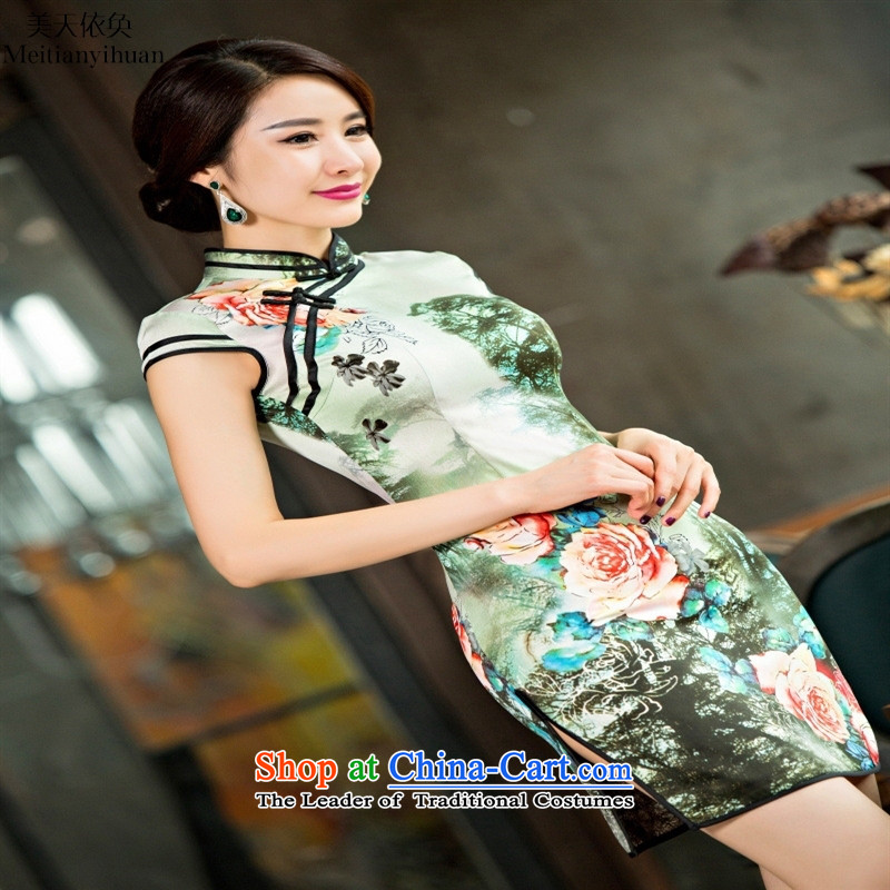 The new Silk Cheongsam fashionable lady dresses retro style qipao suit燲L
