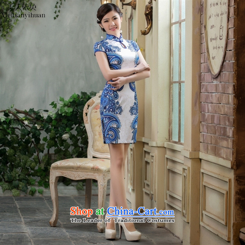 2015 Spring New water droplets for symmetric blue and white cotton jacquard cheongsam dress daily fee traditional dress suit燲XL