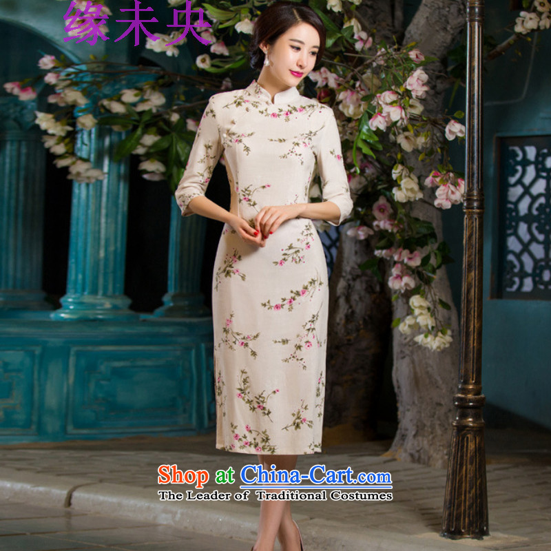 Edge Yanta autumn 2015 new for women in Sau San video thin retro large cuff improved linen long skirt N321C9036 qipao day lilies燲L