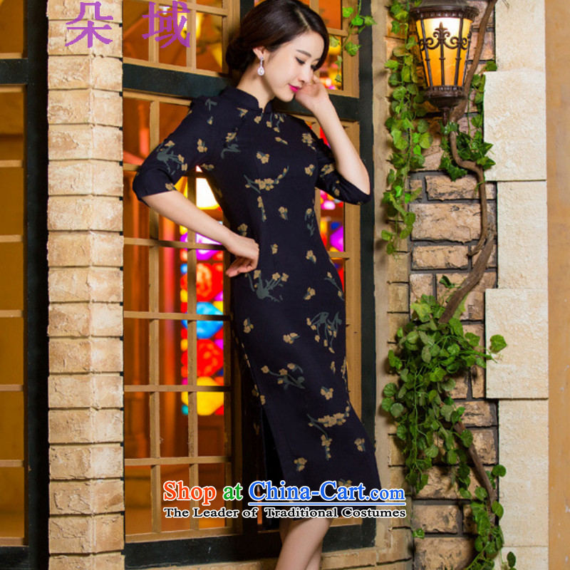 Load the autumn 2015 domain and the new graphics in thin cuff Sau San larger linen long skirt cheongsam dress N321C9036 Samui Orchid燬