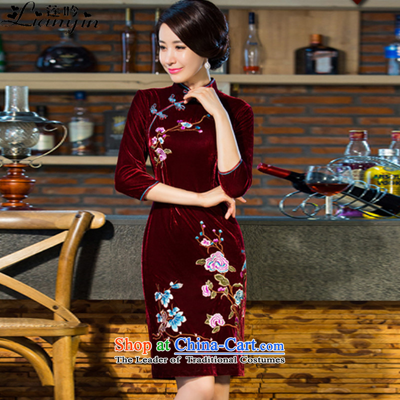 Lin Yin 2015 autumn and winter new moms with scouring pads in the skirt qipao Kim sleeve length_ Improved wedding services B211 Nouveau wine red燬