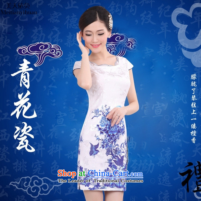 No collar cotton summer 2015 new qipao porcelain stylish Sau San retro dresses picture color聽XL