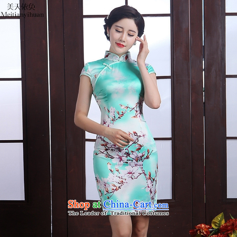 Summer 2015 new qipao stylish herbs extract short skirt_ picture color燲XL