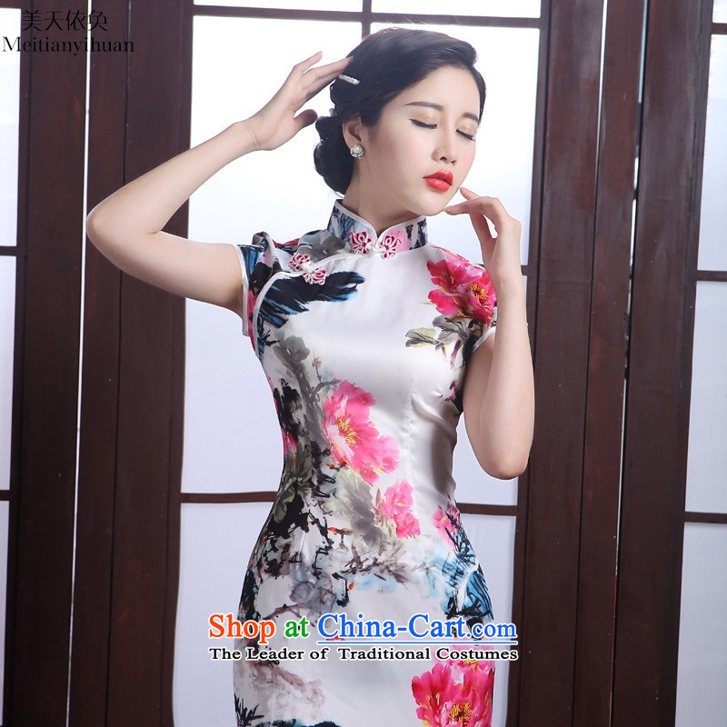 Silk Cheongsam 2015 Spring/Summer New Stylish retro elegant beauty sheikhs wind-day short of the forklift truck, the skirt picture color�XXL