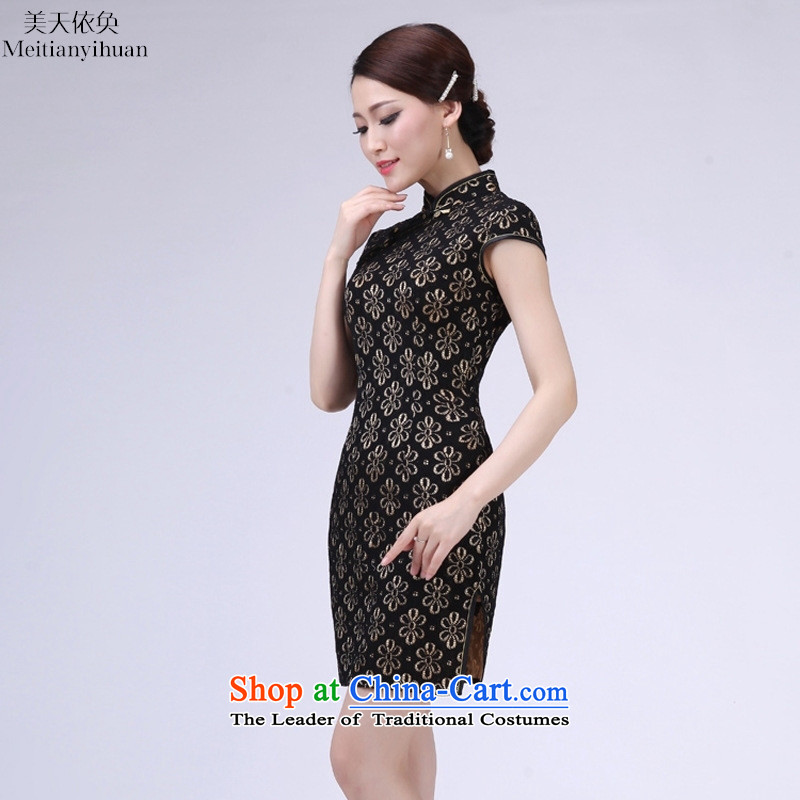 In spring and summer and sexy short of black lace qipao 2015 New Stylish retro Sau San elegant dresses black燤