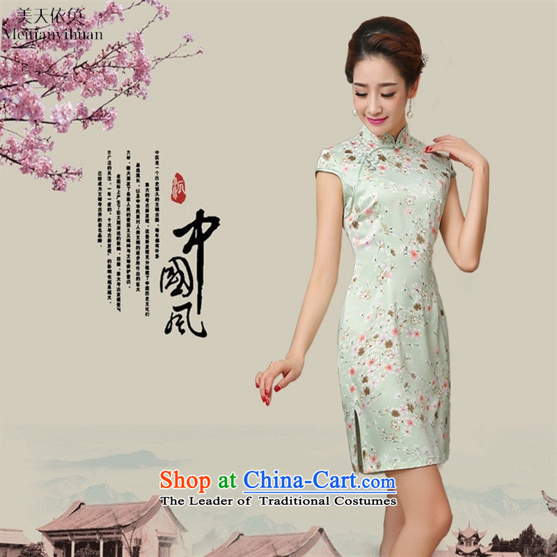 Silk Cheongsam dress elastic thread small fresh floral retro-day 2015 summer picture color�S