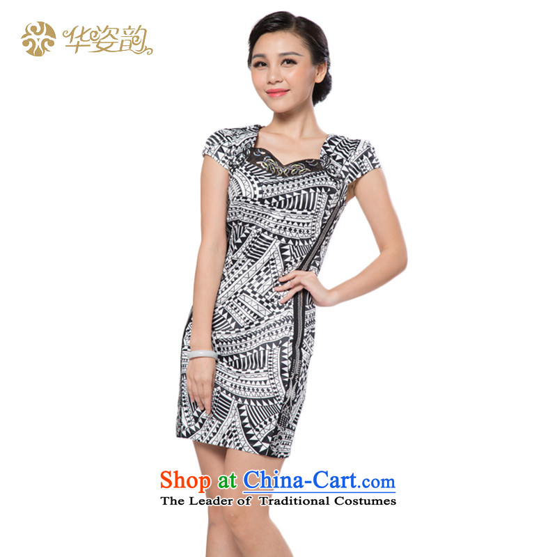 The following new paragraph, Gigi Lai summer short-sleeved dresses, stylish, Sau San video thin short qipao improved Sau San Tong installed China video thin black and white color spell-聽XL