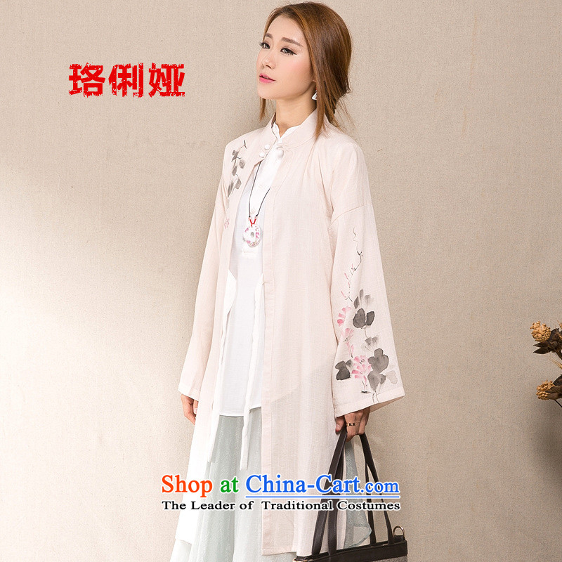 Judy li ya 2015 Autumn replacing new cotton linen china wind Han-female cardigan hand-painted windbreaker female long jacket BZ1273 female m White L