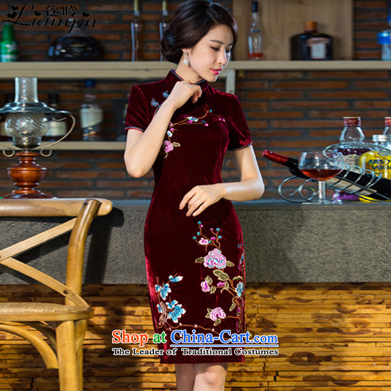 Lin says the new MOM 2015 wedding Kim scouring pads retro dresses cheongsam dress improved skirt B 212 wine red燬