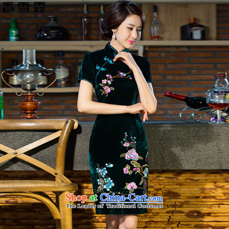 Xiangxue terrace 2015 new moms wedding Kim scouring pads retro dresses cheongsam dress improved skirt T502 GREEN燤