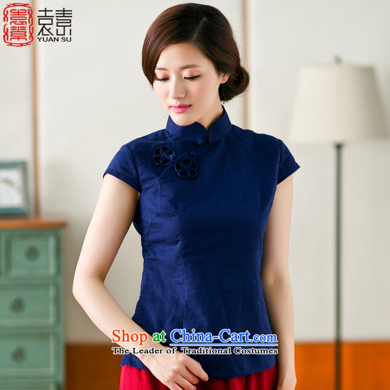 Yuan of�15 Summer qipao shirt Tang dynasty cotton linen clothes Tang dynasty literary and artistic Chinese blouses cotton linen arts retro ethnic women dark blue燲L