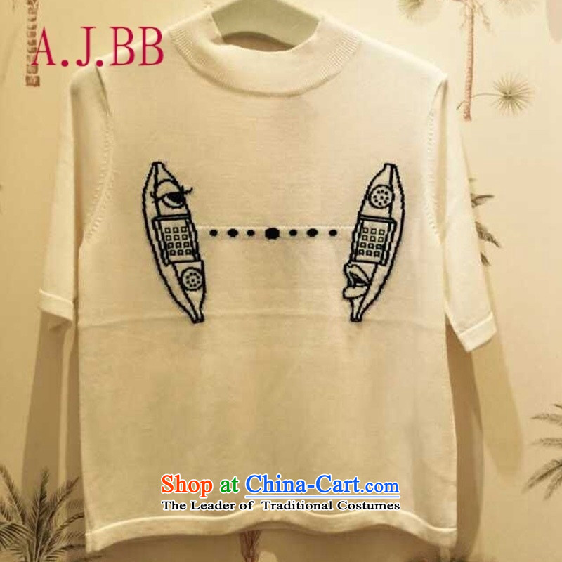 Only the European Apparel site vpro autumn 2015 installed new round-neck collar short-sleeved T-shirt small banana phone embroidery T-shirt 353E304 White M
